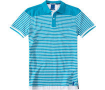 Polo-Shirt Polo Baumwoll-Piqué türkis-weiß gestreift