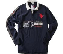 Polo-Shirt Polo, Baumwoll-Jersey, marineblau