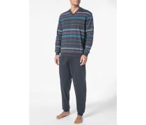 Schlafanzug Pyjama Baumwolle dunkelgrau-multicolor gestreift