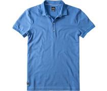 Polo-Shirt Slim Fit Baumwoll-Piqué jeansblau