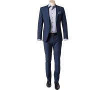 Anzug Slim Fit Schurwolle Super100 dunkelblau meliert