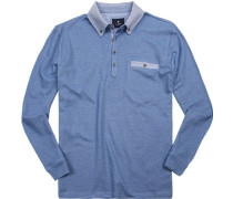 Polo-Shirt Baumwoll-Pique hellblau meliert