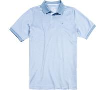 Polo-Shirt Polo Baumwoll-Jersey bleu-weiß gemustert