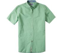 Herren Ober-Hemd Modern Fit Strukturgewebe hellgrün
