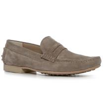 Schuhe Mokassins Veloursleder taupe