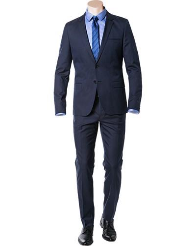 hugo boss herren herren anzug slim fit baumwoll stretch dunkelblau. Black Bedroom Furniture Sets. Home Design Ideas