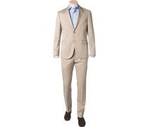 Herren Anzug Modern Fit Baumwoll-Stretch halbgefüttert beige