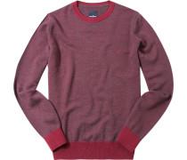 Pullover Schurwolle rubinrot meliert
