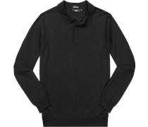 Herren Pullover Slim Fit Merinowolle schwarz