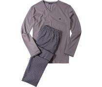 Herren Schlafanzug Pyjama Baumwolle taupe-nachtblau gemustert beige