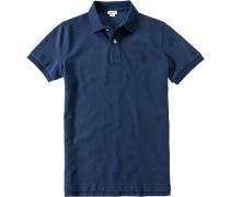 Polo-Shirt Polo Baumwoll-Piqué Mit Rücken-Print marine