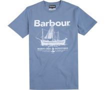 T-Shirt Baumwolle rauchblau gemustert