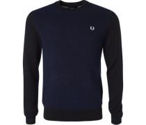 Pullover Wolle schwarz-navy