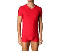 Herren T-Shirt Microfaser rot gestreift