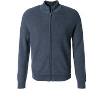 Cardigan Modern Fit Baumwolle-Wolle marine meliert