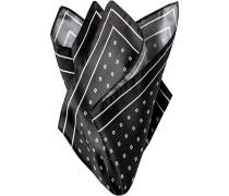 Accessoires Einstecktuch, Seide, schwarz-weiß gemustert