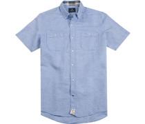 Hemd Modern Fit Leinen-Baumwolle hellblau meliert