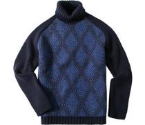 Herren Pullover Schurwoll-Mix marineblau-königsblau blau,blau