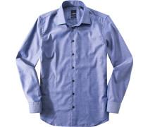 Hemd Modern Fit Baumwolle dunkelblau gemustert