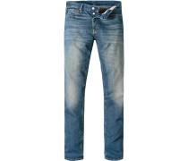 Herren Jeans Tapered Straight Baumwolle jeansblau