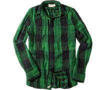 Hemd, Baumwolle, grasgrün-schwarz kariert