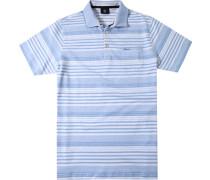 Polo-Shirt Polo Baumwoll-Leinen-Jersey taubenblau-weiß gestreift