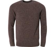Pullover Wolle rotbraun-rauchblau meliert