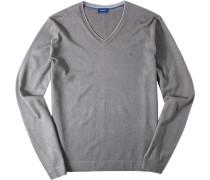 Herren Pullover Seiden-Baumwoll-Mix braun meliert