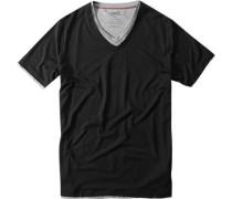 Herren V-Shirt Lyocell-Baumwolle schwarz-grau