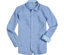 Hemd, Leinen, hellblau meliert