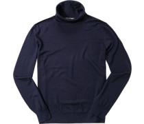 Pullover Schurwolle-Seide nachtblau