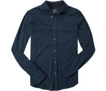 Hemd Baumwoll-Jersey navy-rauchblau gemustert