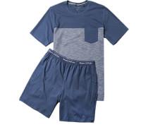 Schlafanzug Pyjama Baumwoll-Jersey dunkelblau-weiß gestreift