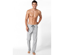 Herren Schlafanzug Pyjamahose Baumwolle hellgrau