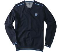 Herren Pullover Pulli Woll-Mix navy blau