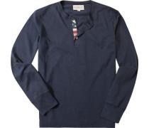 T-Shirt Longsleeve, Baumwolle, dunkelgrau meliert