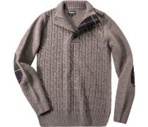 Herren Pullover Troyer Wolle taupe meliert braun