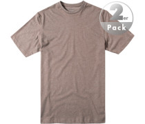 Herren T-Shirt Regular Fit Baumwoll-Mix taupe meliert braun