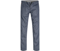 Hose Chino Regular Fit Baumwolle indigo gemustert
