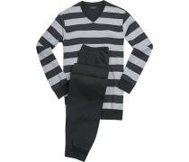 Schlafanzug Pyjama, Baumwolle, hellgrau-anthrazit gestreift