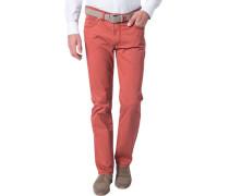 Herren Blue-Jeans Regular Fit Baumwoll-Stretch ziegelrot