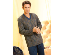 Herren Schlafanzug Pyjama Baumwolle paisley blau,beige