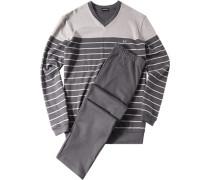 Herren Schlafanzug Pyjama Baumwolle grau gestreift
