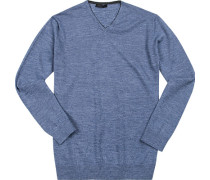 Pullover, Baumwolle, rauchblau meliert