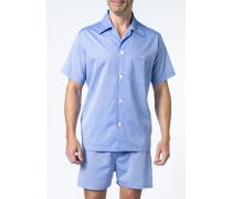 Schlafanzug Pyjama Baumwolle hellblau meliert
