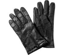 Herren BOSS ORANGE Handschuhe Büffelleder schwarz
