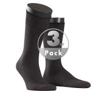 Socken Socken Baumwolle-Kaschmir dunkelbraun meliert