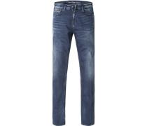 Jeans Slim Straight Baumwoll-Stretch dunkelblau