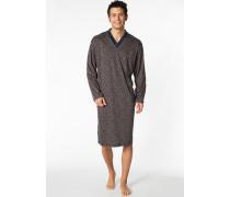 Herren Nachthemd Baumwolle marine gemustert blau