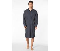 Herren Nachthemd Baumwolle marineblau gemustert